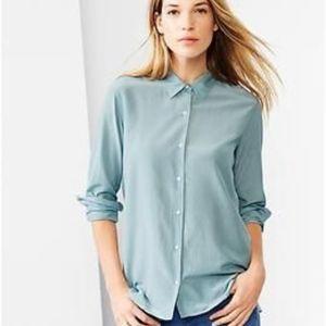 Gap Silk Cotton Button Down Shirt